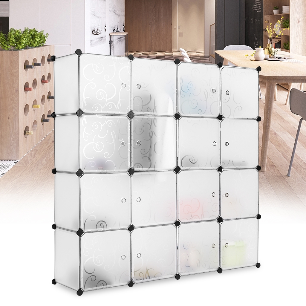 16 Cube Modular Storage Organizer Cabinet Closet Wardrobe Bookcase Inside Well Liked Plastic Wardrobes Box (View 1 of 15)