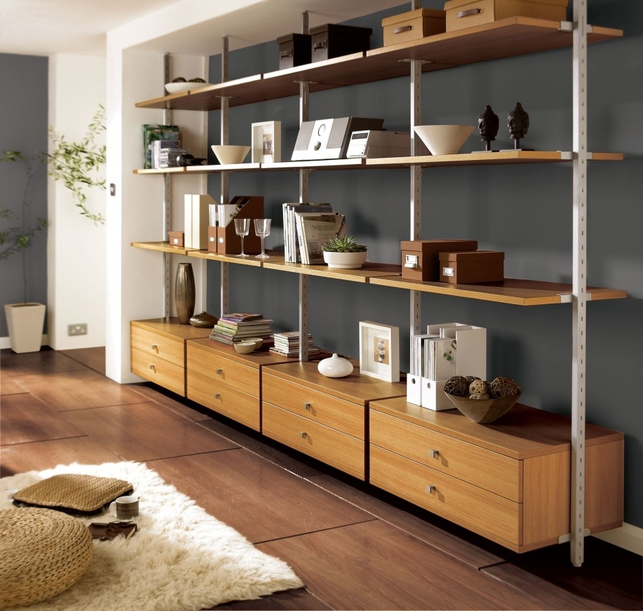 Living room shelving systems