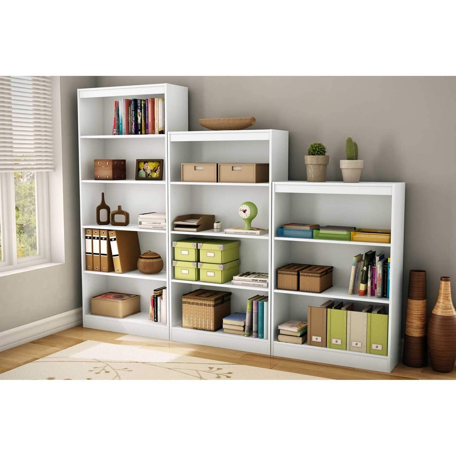 2017 4 Shelf Bookcases Pertaining To South Shore Pure White Axess 4 Shelf Bookcase – Free Shipping (View 12 of 15)