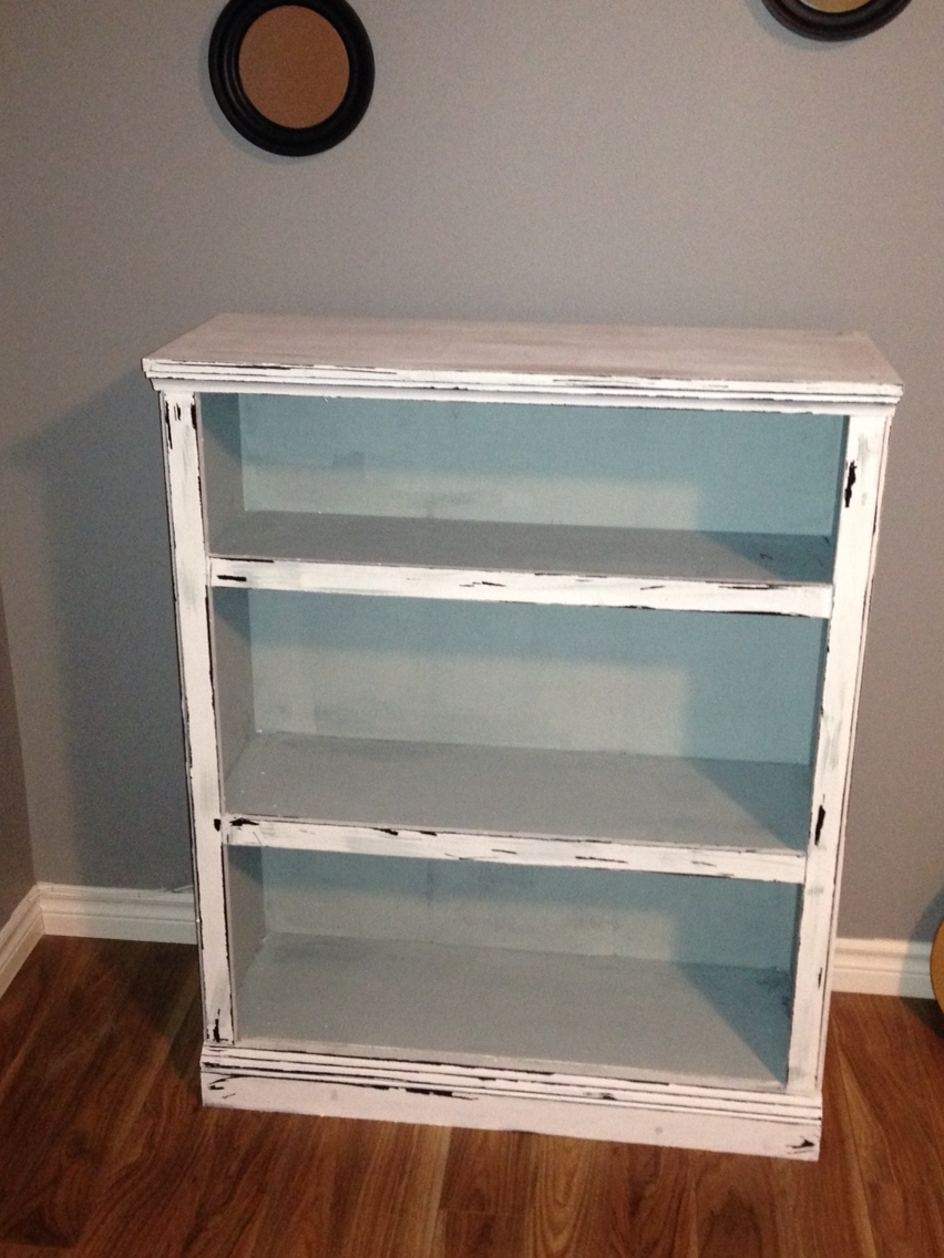 2017 A Bookcase I Made Into A Distressed Vintage Look Using Americana Regarding Chalk Paint Bookcases (View 1 of 15)