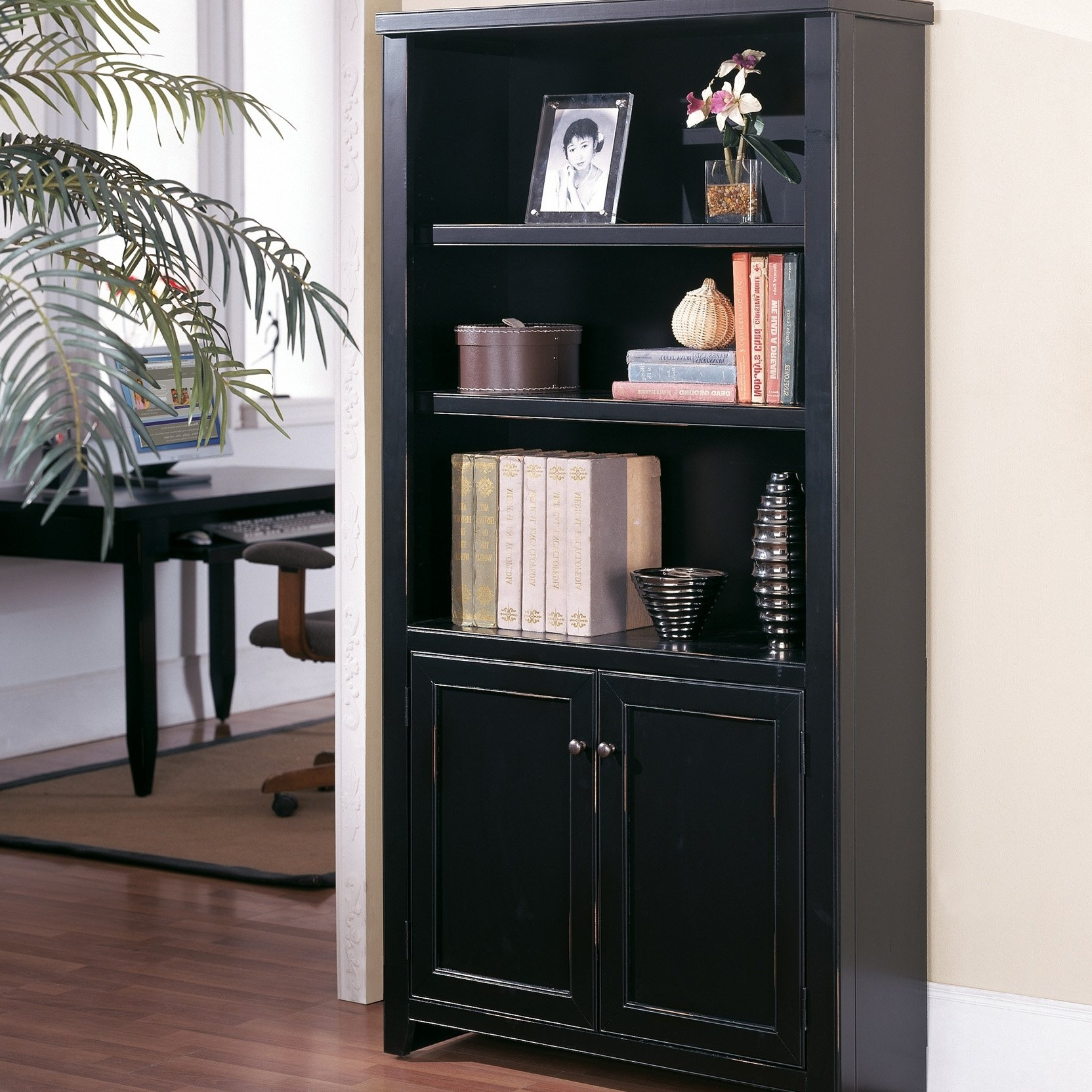 2017 Black Bookcases With Doors Inside Kathy Ireland Homemartin Tribeca Loft Bookcase With Doors (View 2 of 15)
