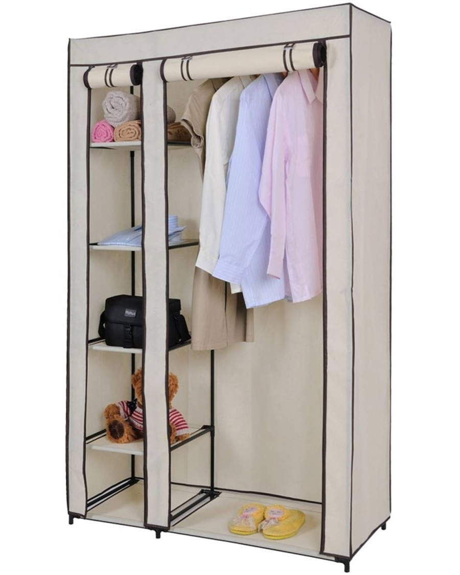 2017 Double Black Covered Tidy Rail Wardrobes In Double Canvas Wardrobe For Clothes Storage – Cream: Amazon.co (View 2 of 15)