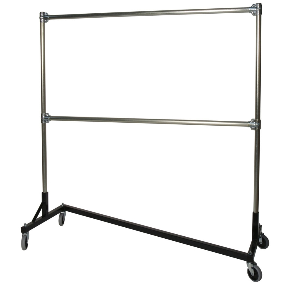 2017 Double Clothes Rail Wardrobes With Heavy Duty Portable Clothes Rack – 5ft Double Rail In Clothing (View 10 of 15)