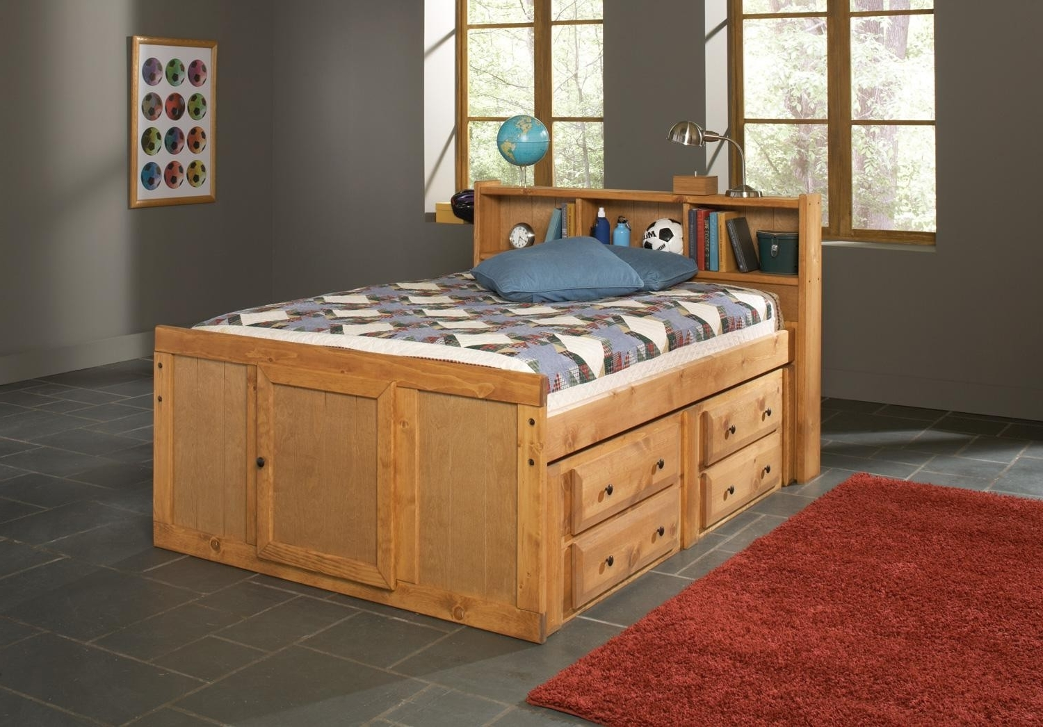2017 Full Size Storage Bed With Bookcases Headboard For Oak Finish Children Full Size Bed With Bookcase Storage Headboard (View 1 of 15)