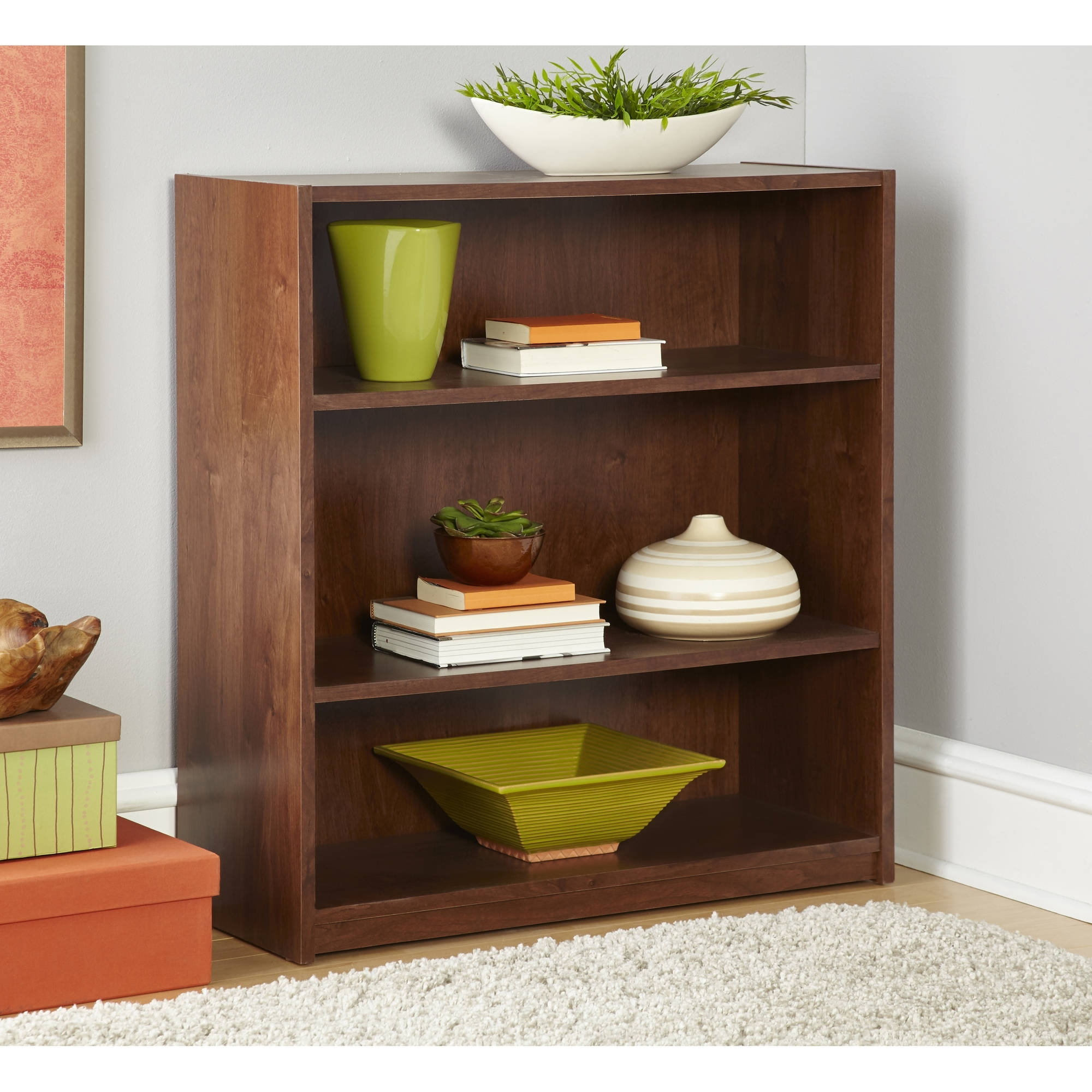 2017 Mainstays 3 Shelf Bookcase In Alder Color – Walmart With Mainstays 3 Shelf Bookcases (View 1 of 15)