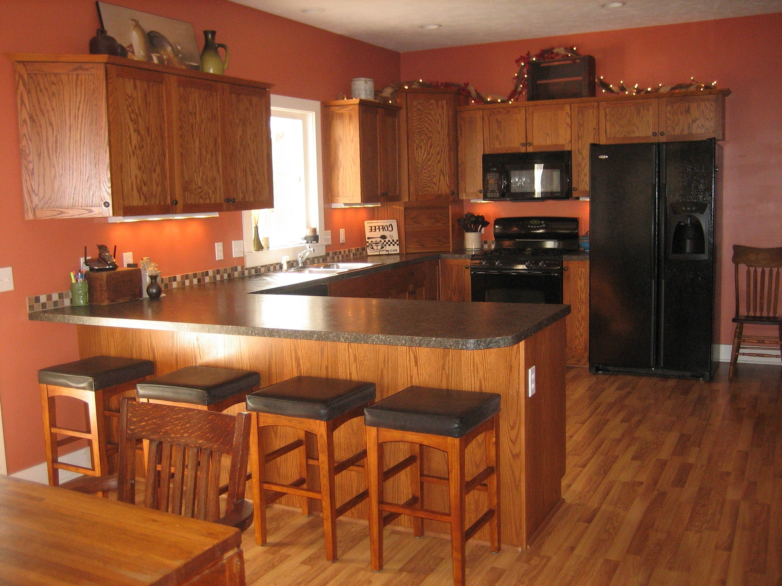 2017 My Kitchen With Mission Style Oak Cupboards And Terra Cotta Orange Intended For Oak Cupboards (View 1 of 15)