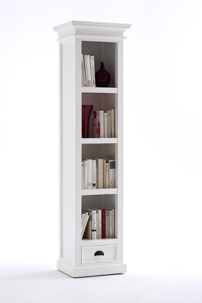 2017 Narrow Bookcases Within Belgravia Painted Tall Narrow Bookcase With Drawer (View 5 of 15)