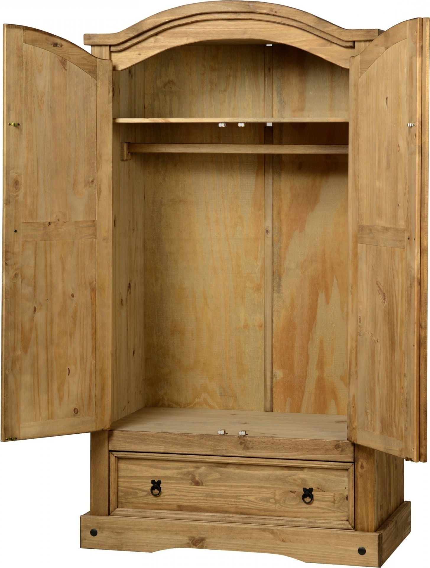 2017 Pine Wardrobes With Drawers And Shelves With Corona Pine 2 Door Wardrobe With Drawer – Default Store View (View 2 of 15)