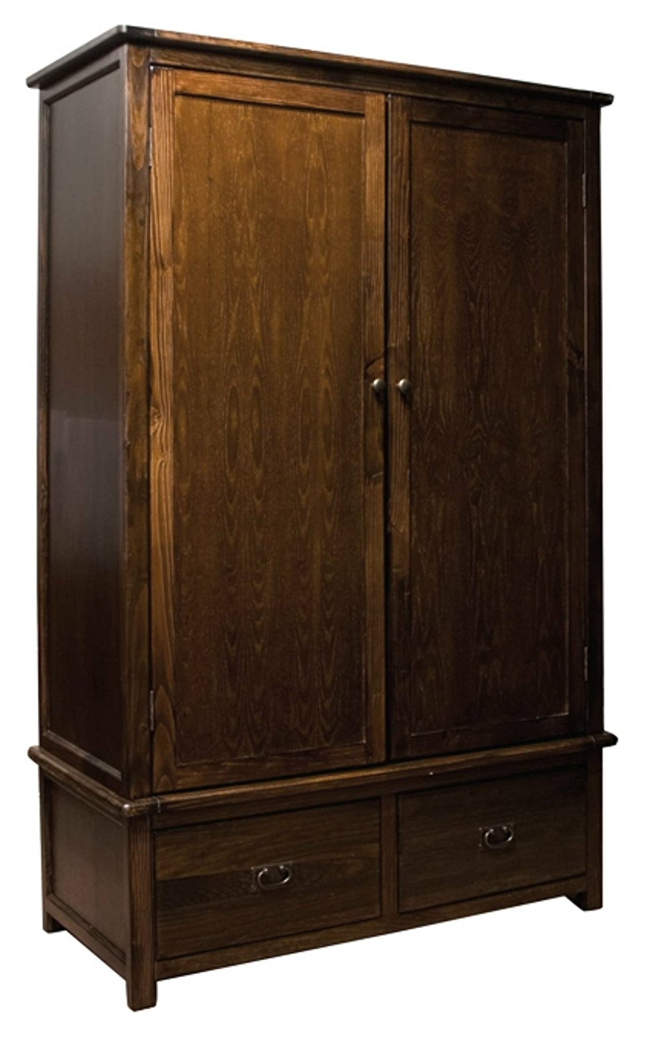 2017 Solid Dark Wood Wardrobes With Boston Solid Pine Dark Wood Large Double Wardrobe With 2 Drawers (View 5 of 15)