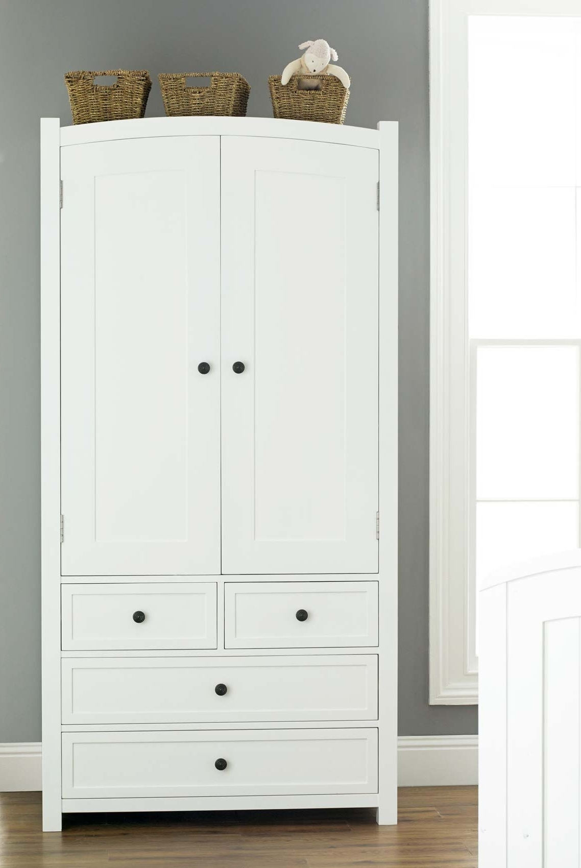 2017 Wardrobes With Drawers And Shelves In Ceiling To Floor White Wooden Wardrobe Closet With Ladder Shelves (View 1 of 15)