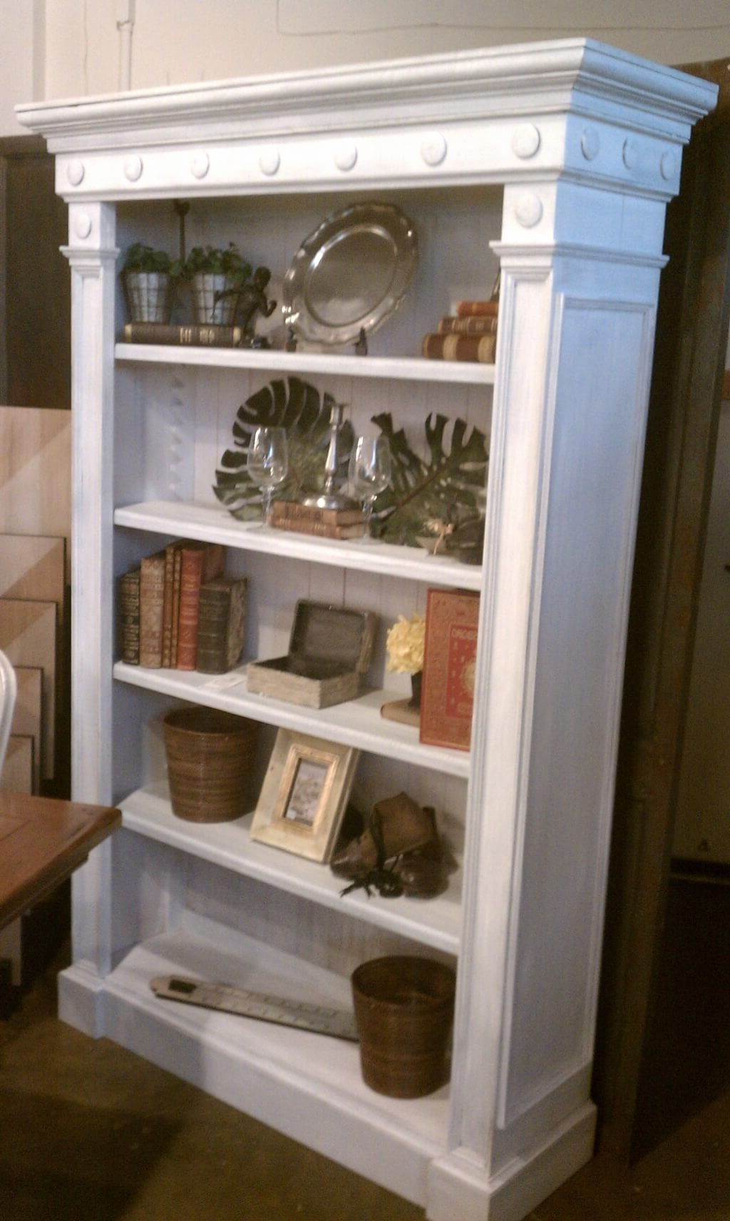 2017 White Corner Distressed Bookcase Wooden Metal Red Wood Reclaimed Regarding White Wood Bookcases (View 1 of 15)