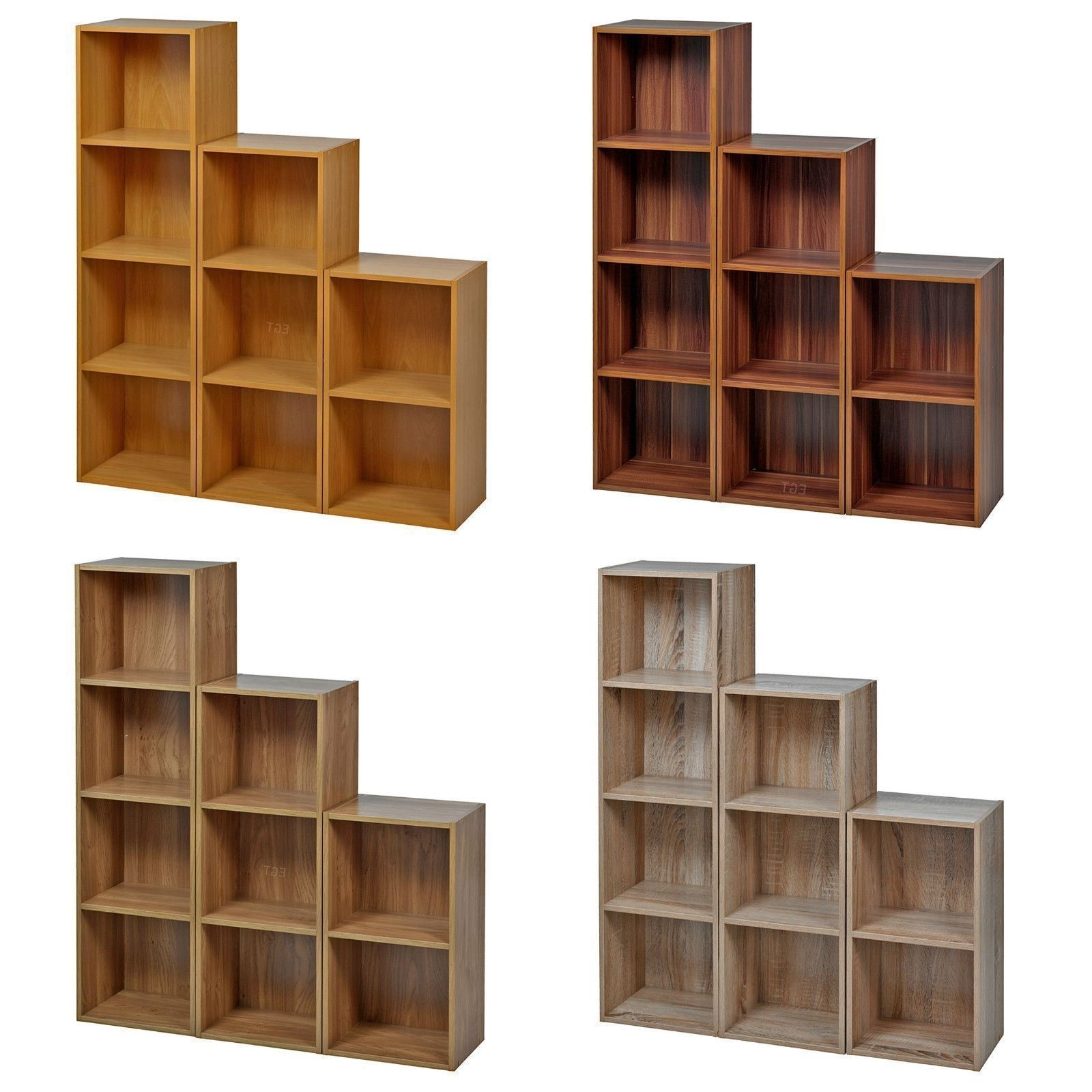 2017 Wooden Bookcases With Regard To 2 4 Tier Wooden Bookcase Shelving Bookshelf Storage Furniture Cube (View 11 of 15)