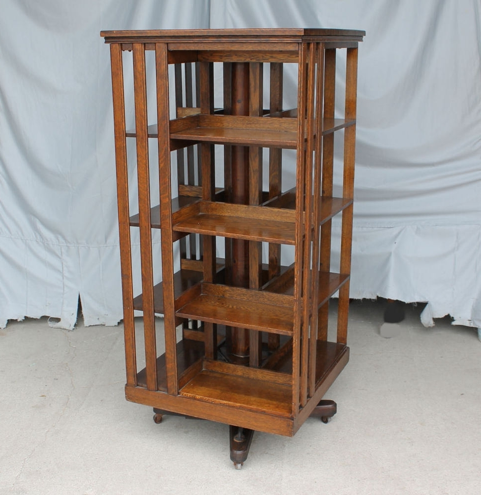 2018 Antique Revolving Oak Bookcase – Original Finish – Danner Intended For Rotating Bookcases (Gallery 4 of 15)