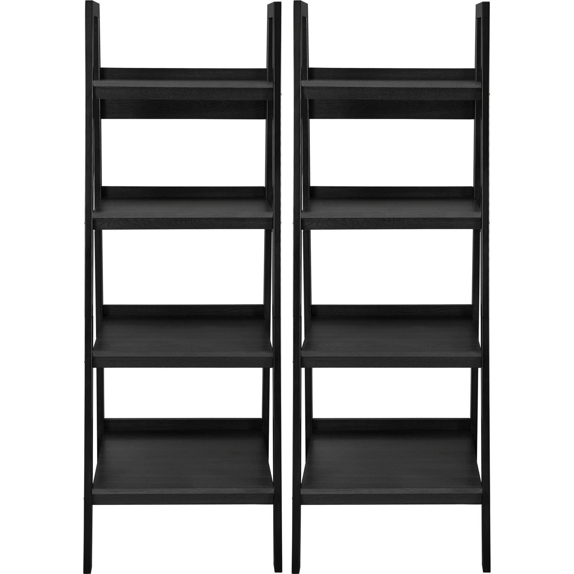 2018 Black Bookcases With Regard To Altra Metal Ladder Bookcase, Set Of 2, Black Shelves Shelf Decor (View 14 of 15)