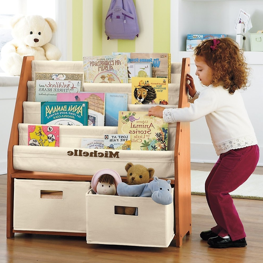 2018 Bookcases For Toddlers Pertaining To Amazon: Kids' Sling Bookshelf With Storage Bins – Natural (View 11 of 15)