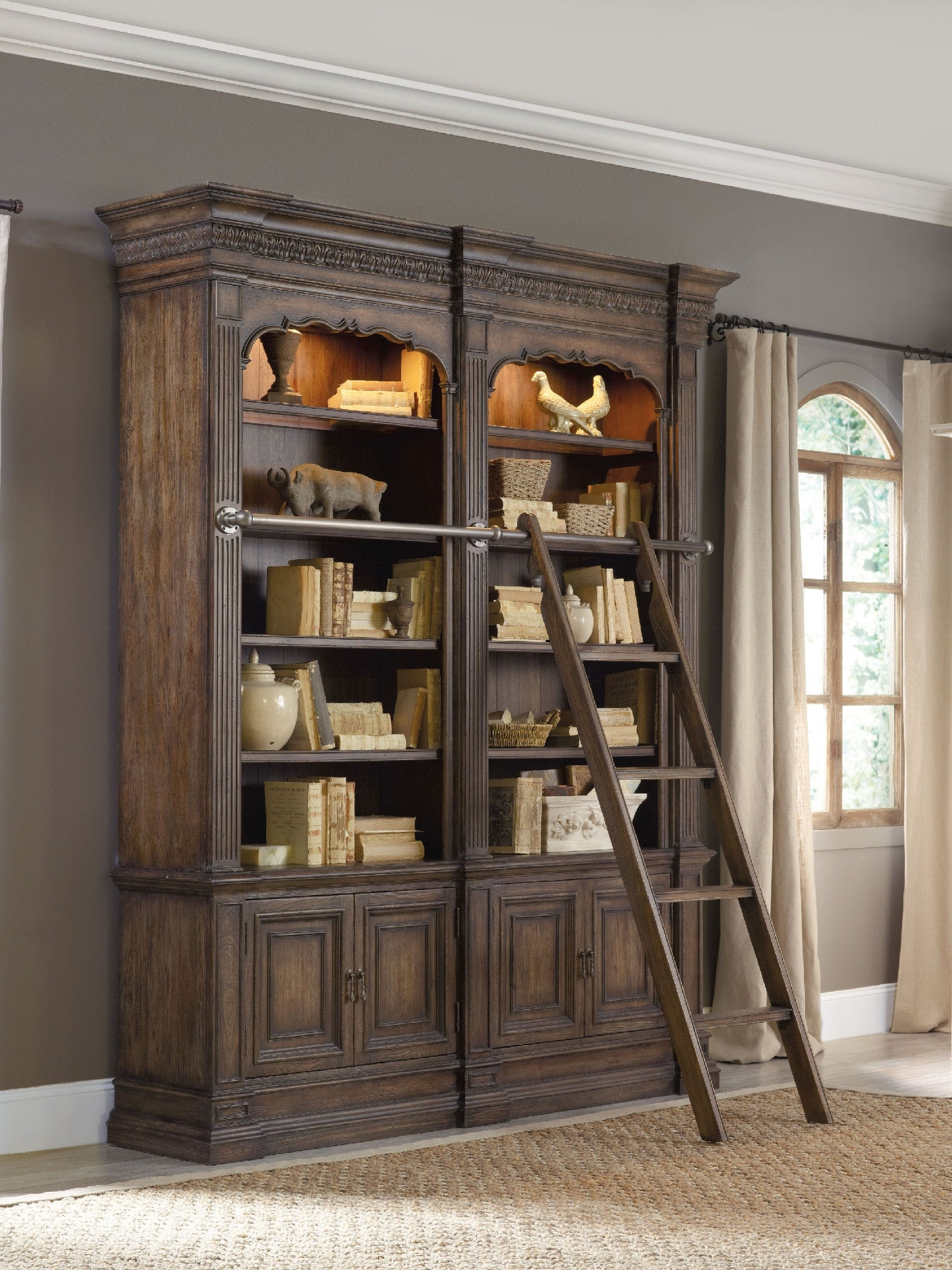 2018 Bookcases With Ladder With Bookcase Astounding Library With Ladder Photo Concept Plans Wall (View 4 of 15)