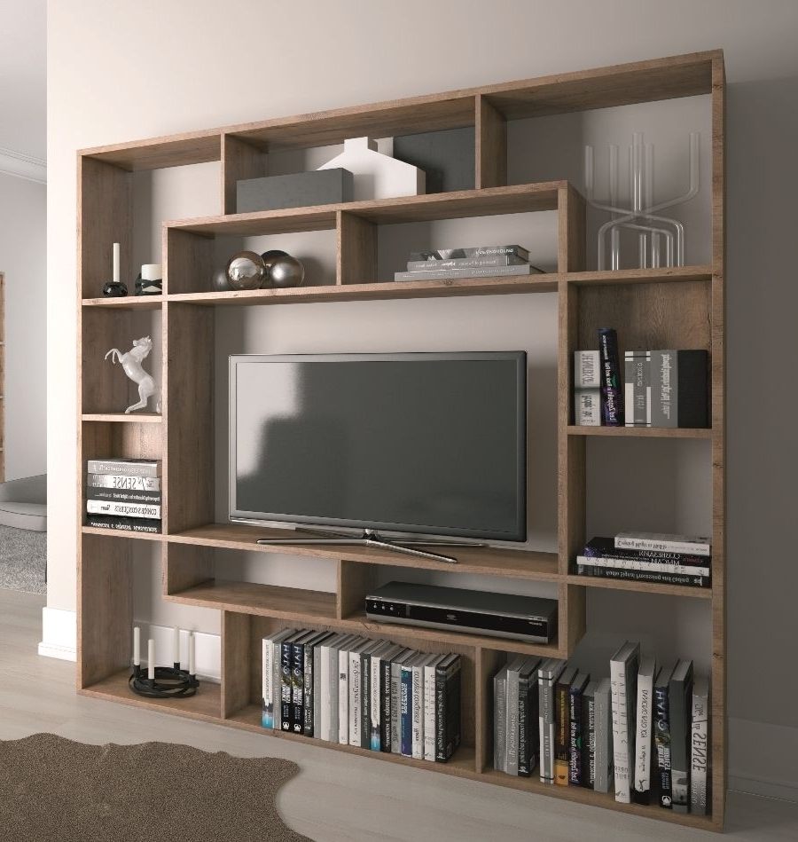 2018 Bookcases With Tv Unit Intended For Remarkable Tv Bookcase Unit Bookshelf Stand Combo Wooden Shelves (View 1 of 15)