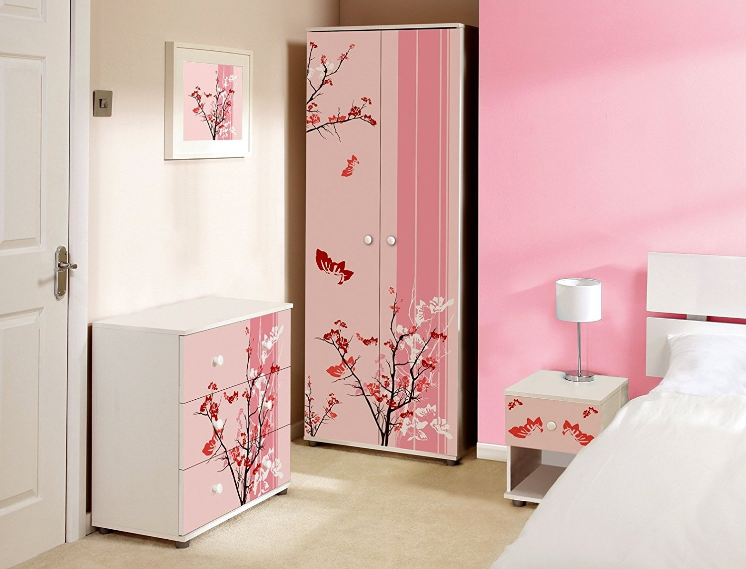 2018 Childrens Pink Wardrobes For Pink Floral Design Childrens/kids White Bedroom Furniture Sets (View 1 of 15)
