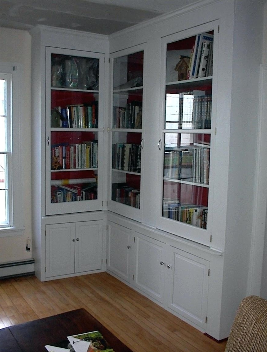 2018 Decoration: White Bookcases With Glass Doors With Bookshelves With Cabinet Base (View 2 of 15)