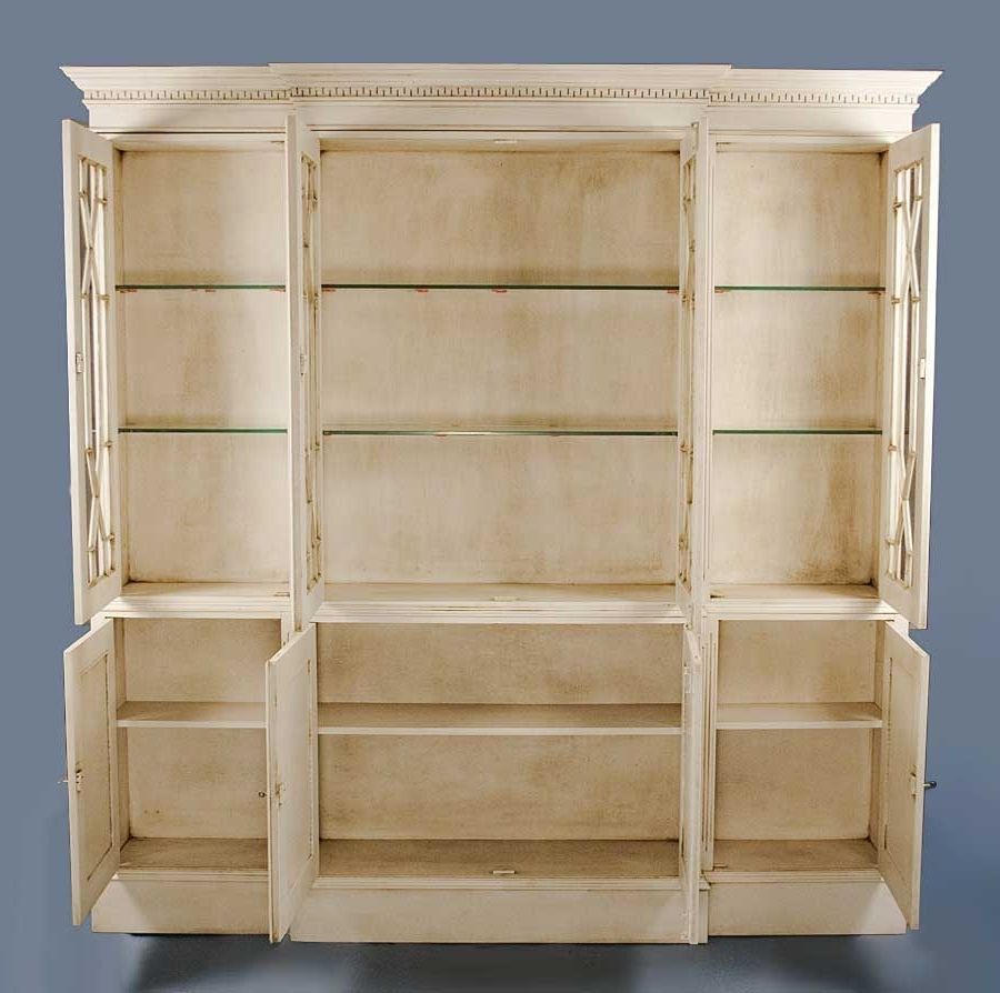 2018 English Antique Style Painted White Bookcase With Regard To Antique White Bookcases (View 4 of 15)