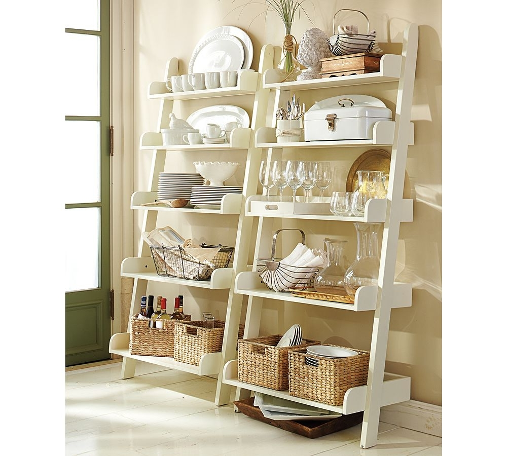 2018 Free Standing White Shelves Inside Free Standing Kitchen Shelf Unit In White Made Of Wood For Plates (View 1 of 15)