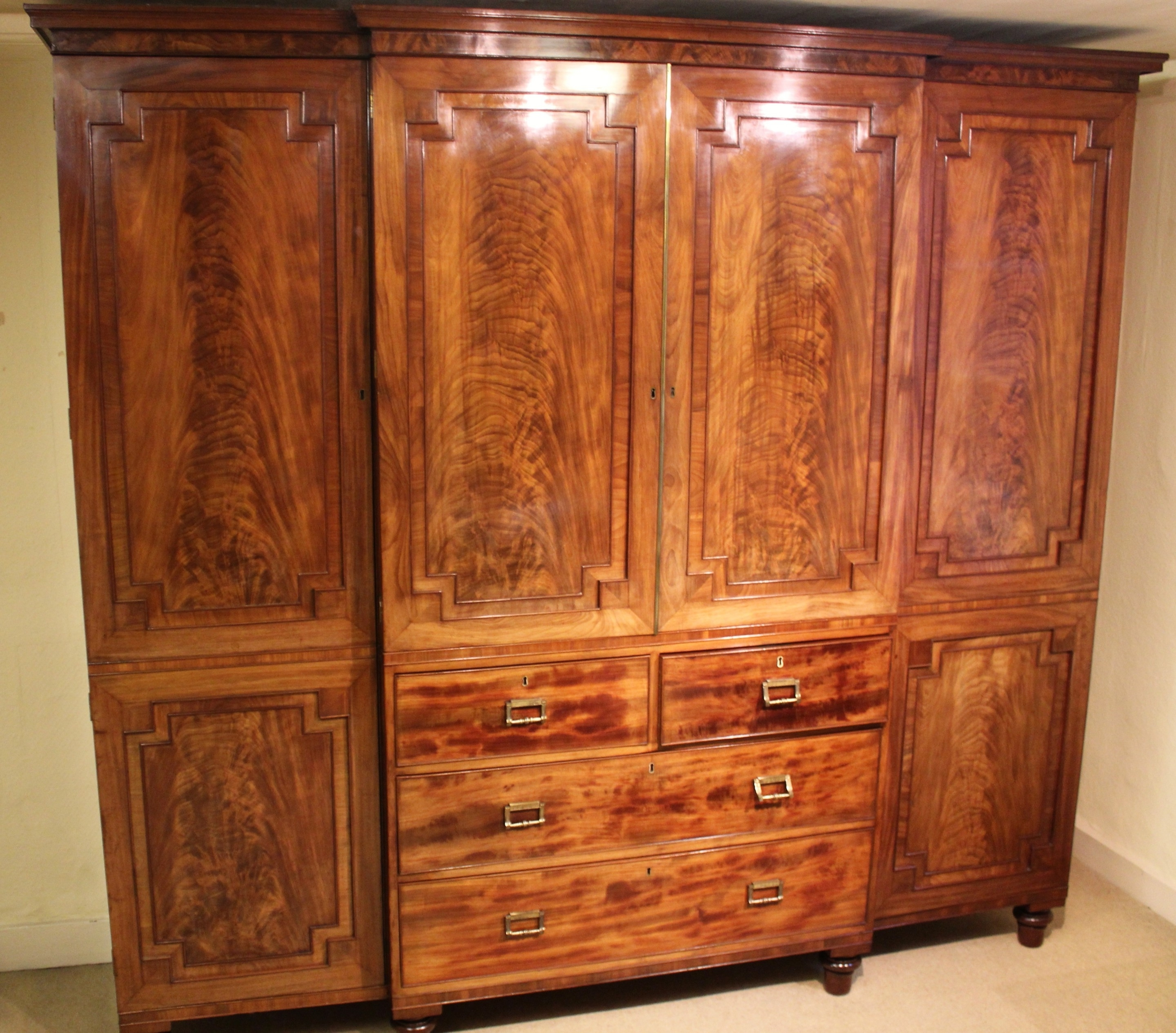 2018 George Iv Period Mahogany Breakfront Wardrobe Of Exceptionally Within Breakfront Wardrobe (View 2 of 15)