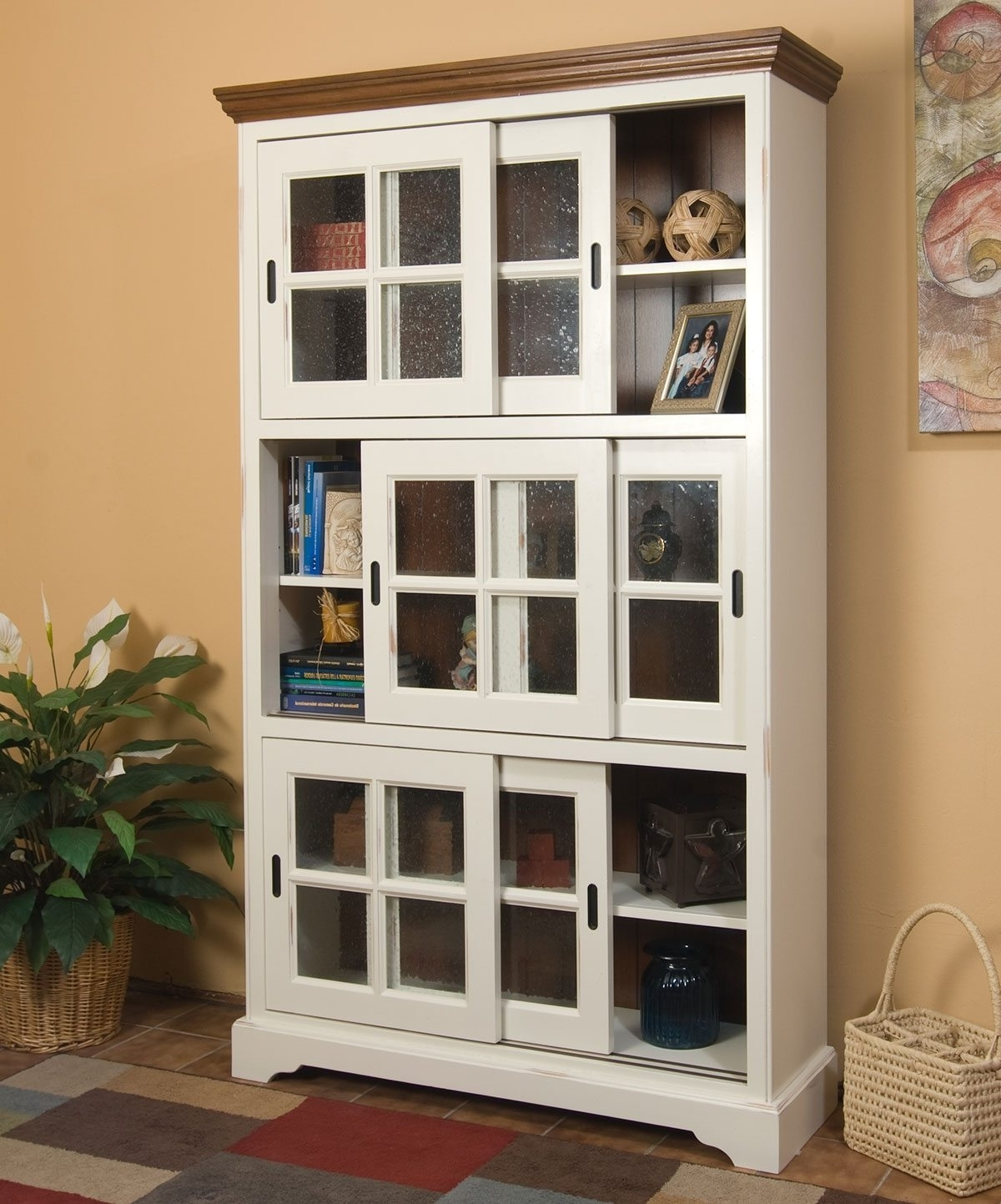 2018 Glass Cabinet : Magnificent Southern Enterprises Sliding Door Inside Cabinet Bookcases (View 11 of 15)