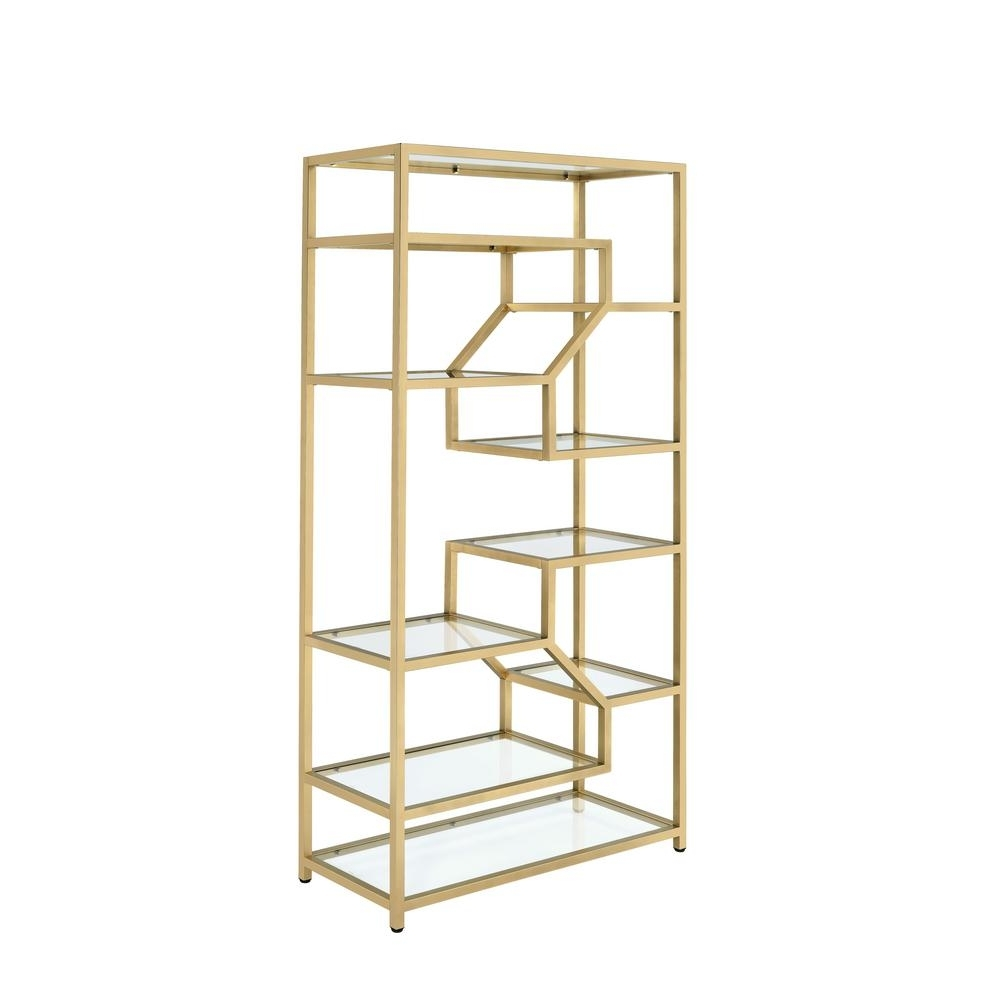 2018 Gold Bookcases In Acme Furniture Lecanga Cube Clear Glass And Gold Bookcase  (View 1 of 15)