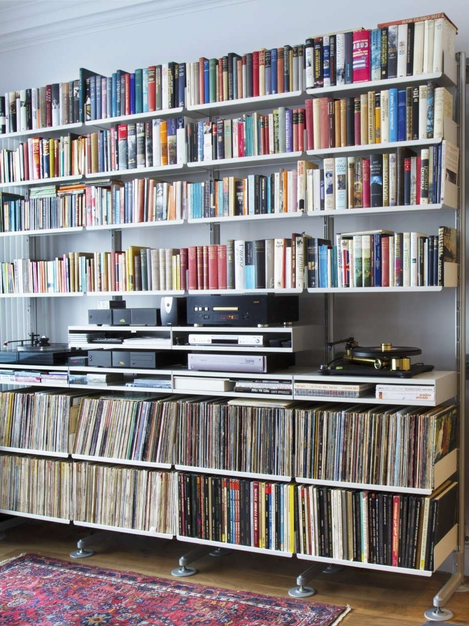 2018 Home Library Shelving System In A Faithful Shelving System Bearing Its Load Of Books, Vinyl And (View 1 of 15)