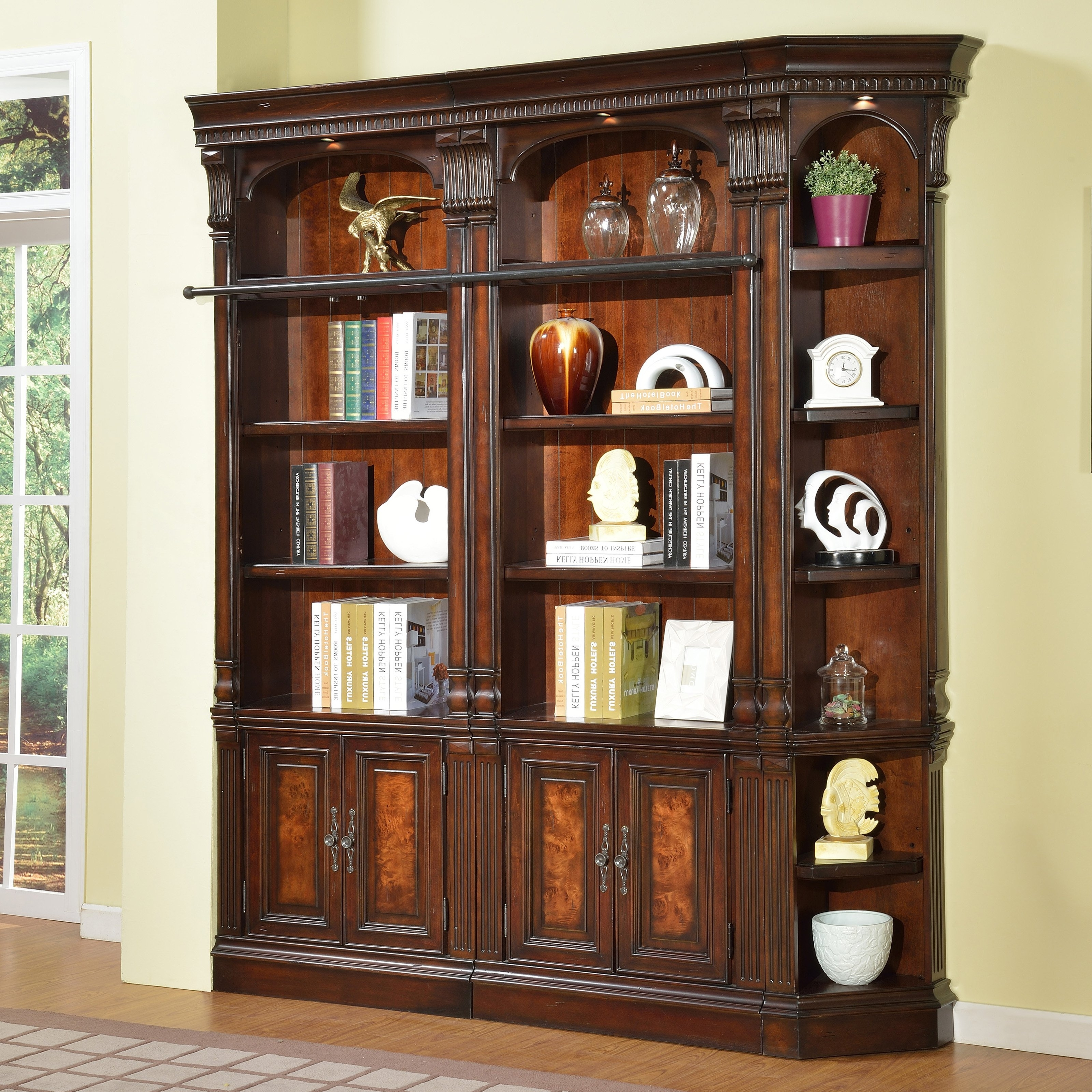 2018 Large Solid Wood Bookcases Pertaining To Bookshelf: Outstanding Dark Wood Bookcase Solid Wood Bookcases (View 1 of 15)