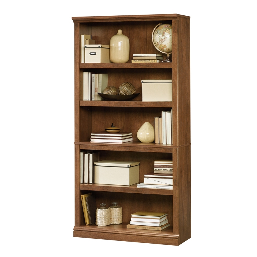 2018 Lowes Bookcases Within Shop Sauder Oiled Oak 5 Shelf Bookcase At Lowes (View 14 of 15)