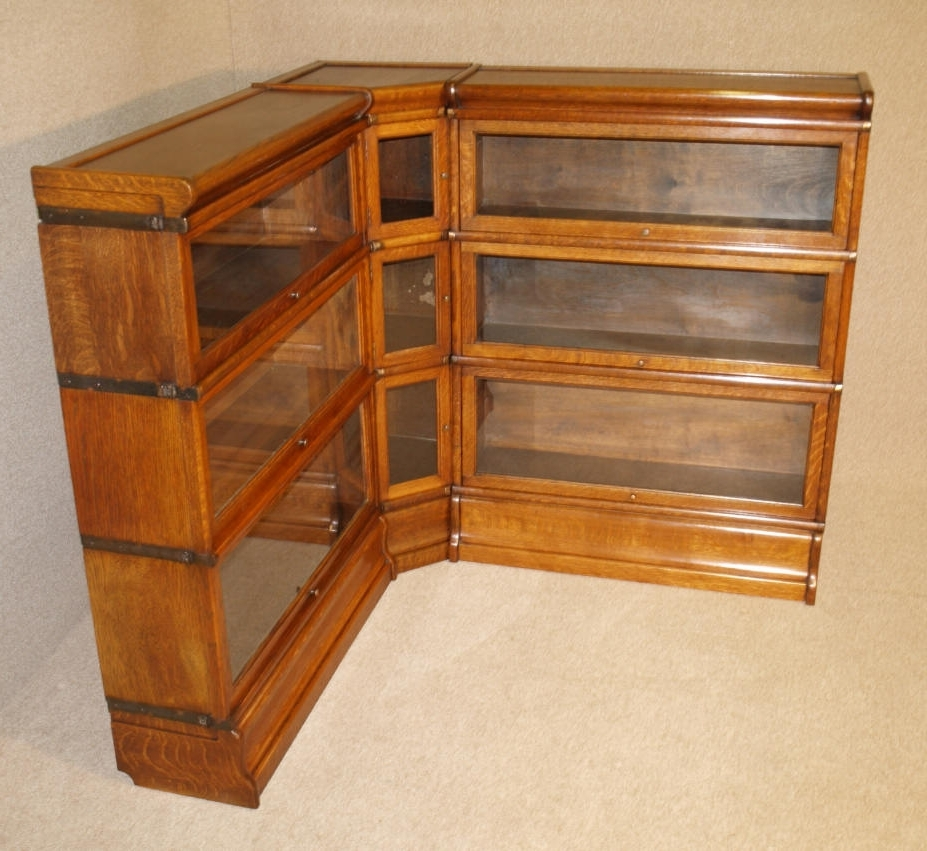 2018 Rare Antique Oak Corner Globe Wernicke Barristers Bookcase Martin Intended For Lawyers Bookcases (View 5 of 15)
