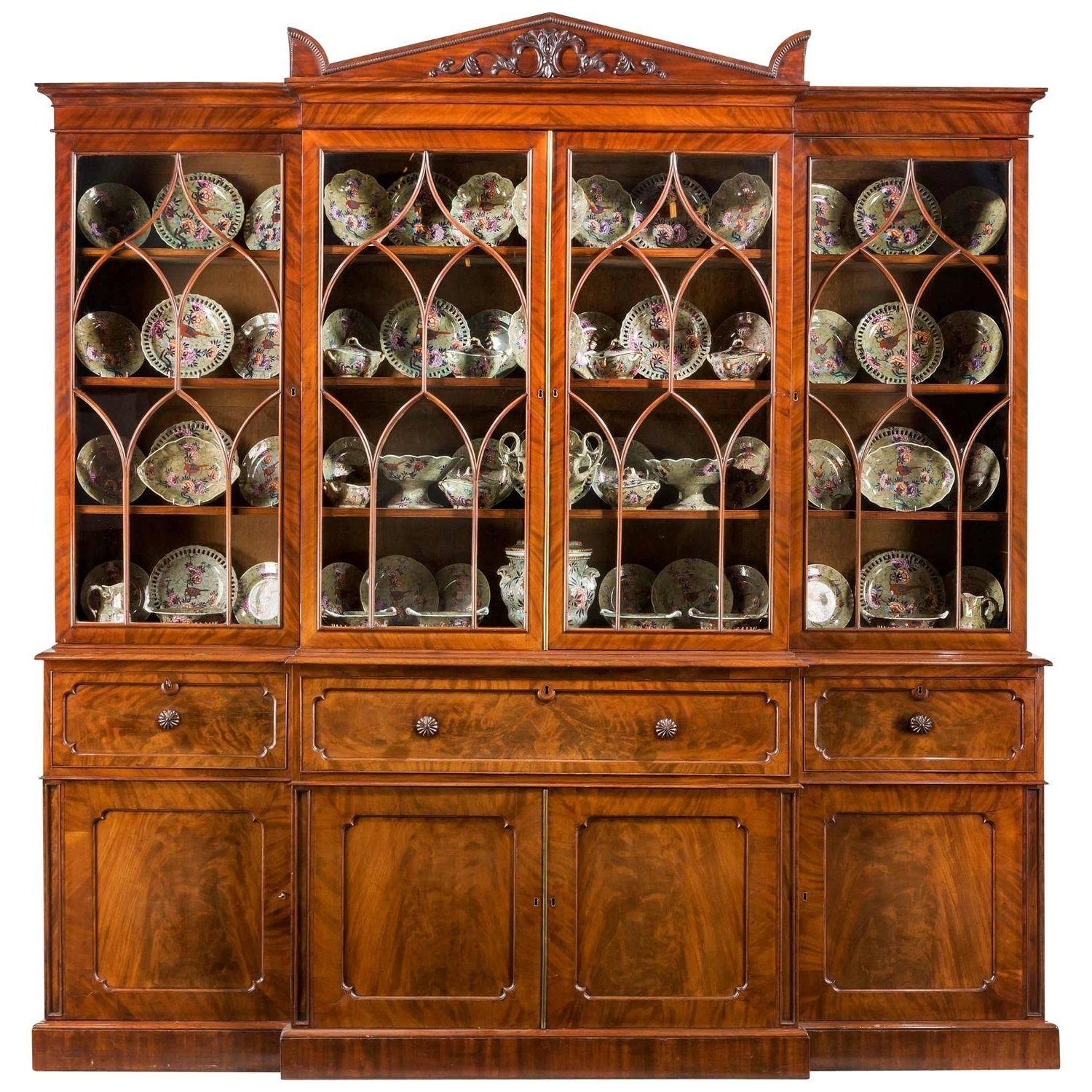 2018 Regency Mahogany Library Breakfront Secretaire Bookcase Attributed With Georgian Breakfront Wardrobes (View 2 of 15)