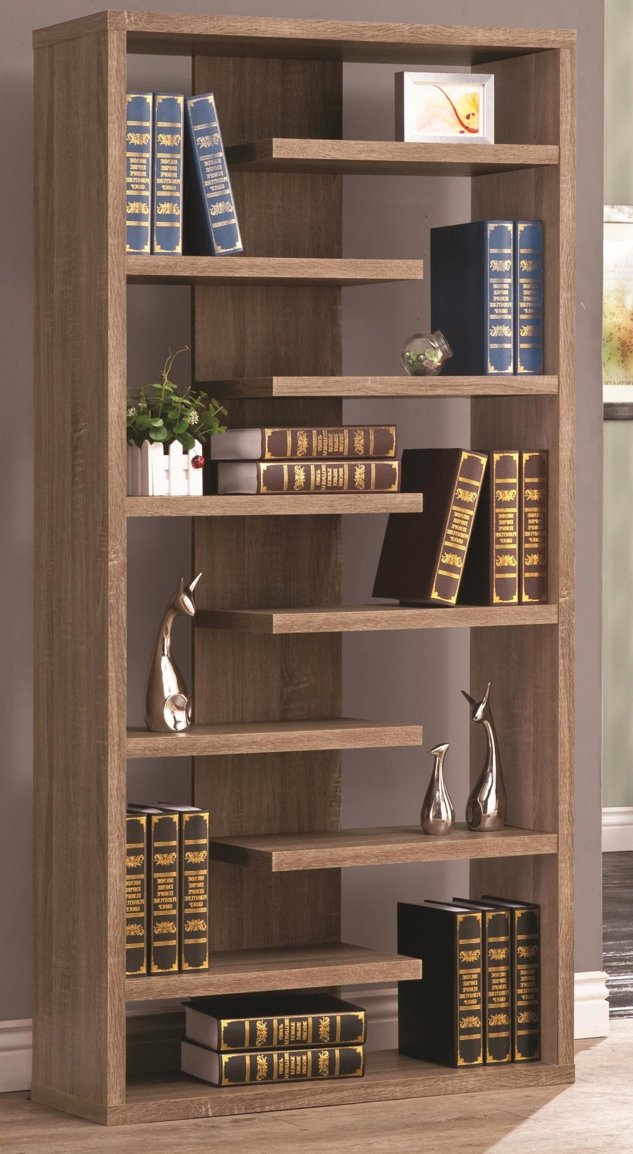 2018 Rustic Wood Cool Retail Bookcase Floating Shelves Store Unique Throughout Unique Bookcases (View 3 of 15)