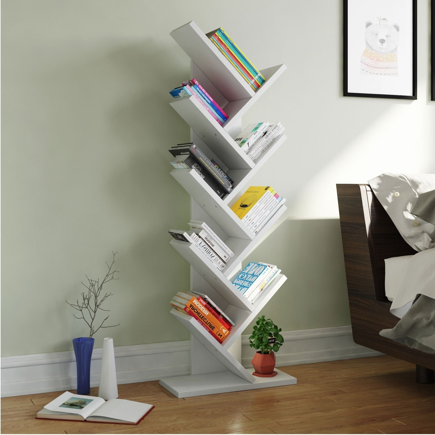 2018 Tribesigns 9 Shelf Tree Book Shelf, Modern Bookcases And Shelves Intended For Tree Bookcases (View 5 of 15)