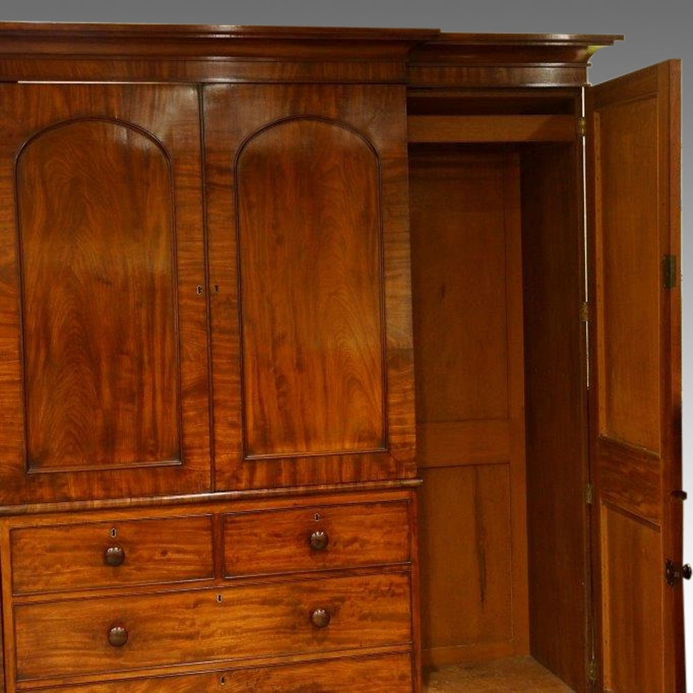 2018 Victorian Mahogany Breakfront Wardrobes With Regard To William Iv Mahogany 4 Door Break Front Wardrobe – Hingstons (View 3 of 15)
