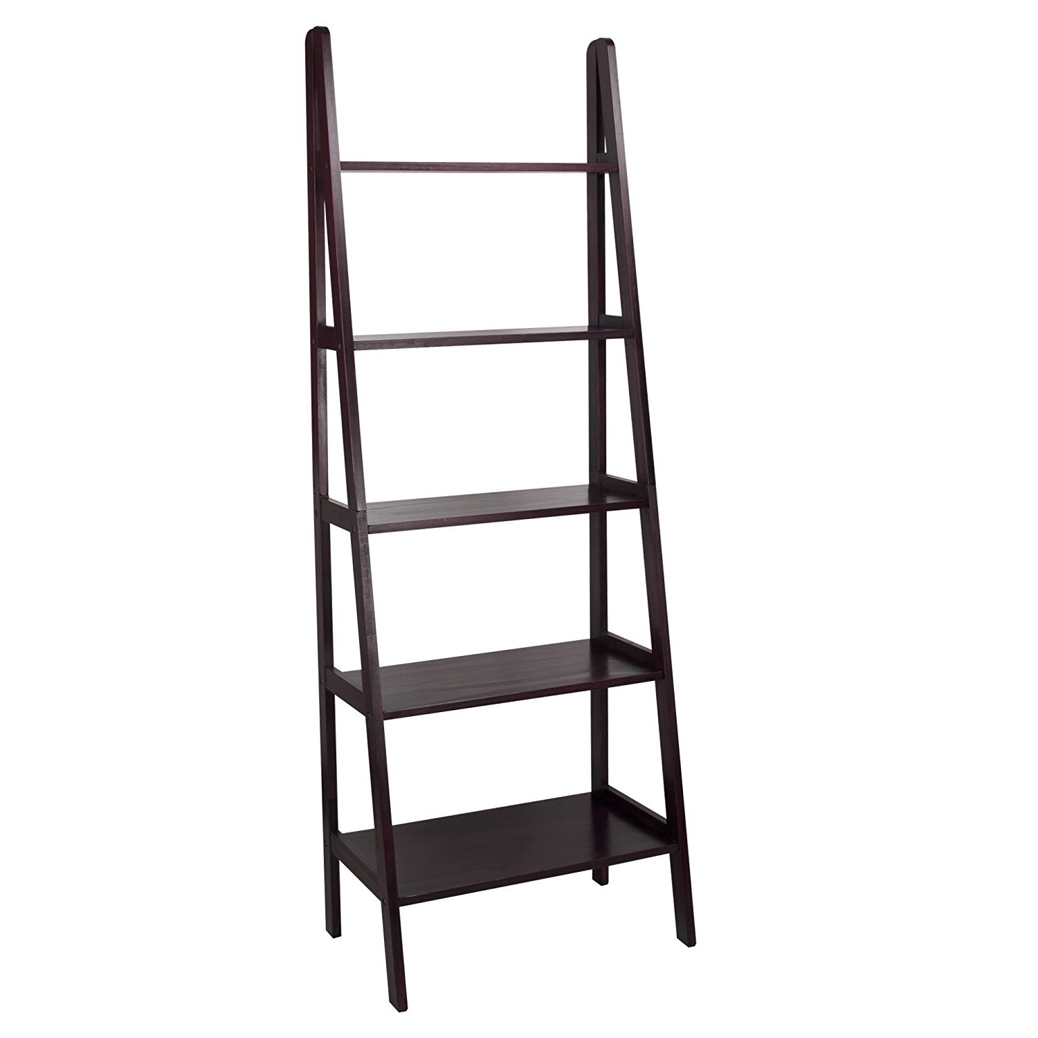 2018 White Ladder Bookcases Intended For Amazon: Casual Home 176 53 5 Shelf Ladder Bookcase, Espresso (View 14 of 15)