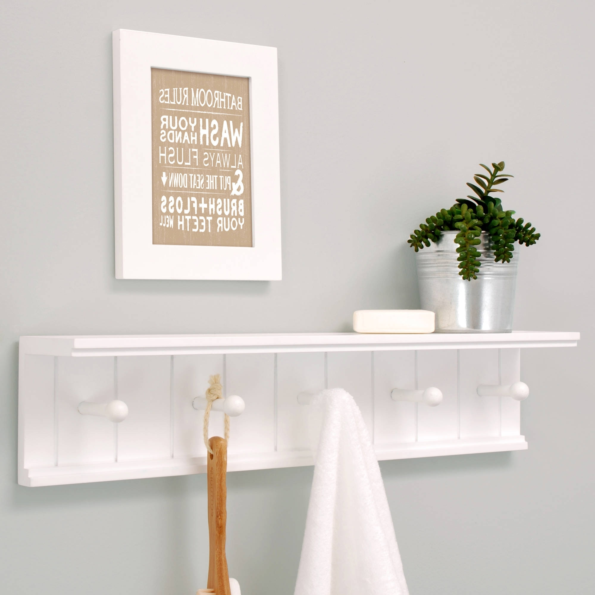 "2018 White Wall Shelves Throughout Kiera Grace Kian 24"" Wall Shelf With 5 Pegs, White – Walmart (View 9 of 15)"
