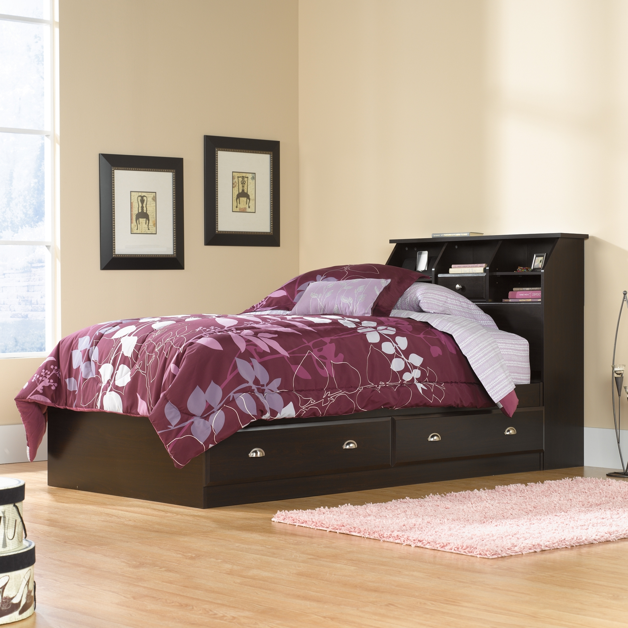 trundle hugo captains bookshelf cappuccino portofino bed irving donco in full kids bookcase with