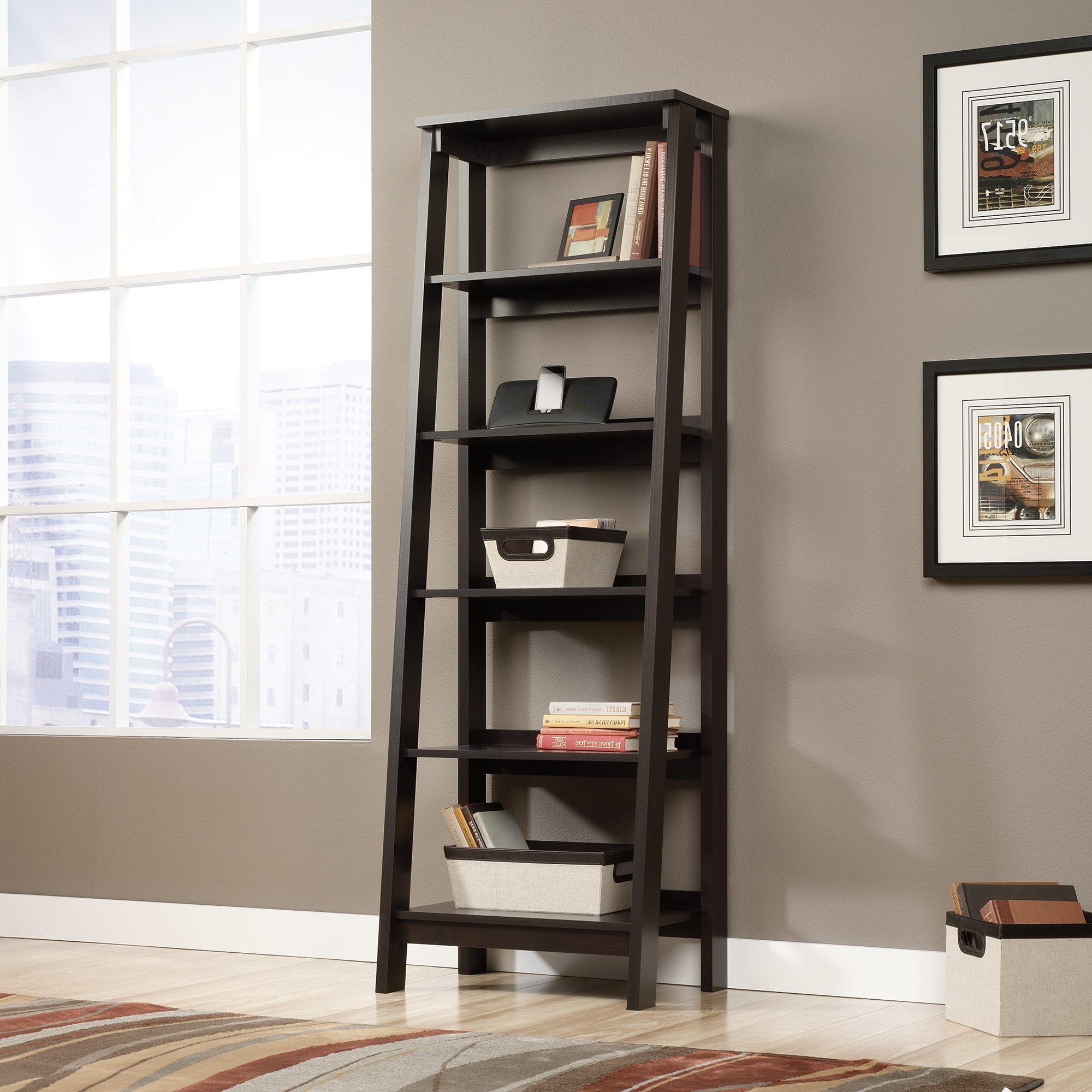 5 Shelf Bookcases Regarding 2018 Bookcases With Ladder Or Sauder Trestle 5 Shelf Bookcase Jamocha (Gallery 10 of 15)