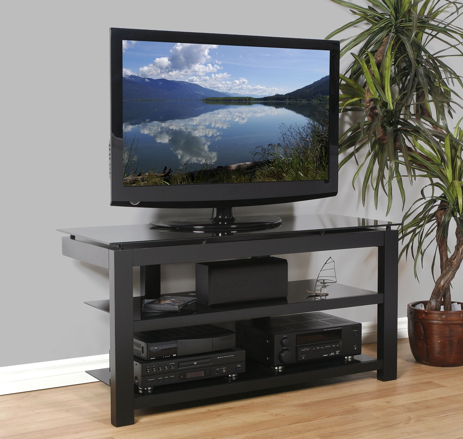 50 Inch Flat Screen Tv Stand – Natural Wood Veneers And Black Regarding Well Known Flat Screen Shelving (Gallery 10 of 15)