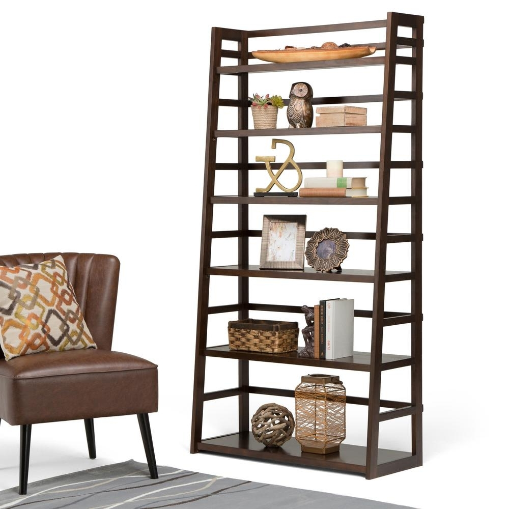 84 Inch Tall Bookcases Within Famous Simpli Home Acadian Tobacco Brown Ladder Bookcase Axss008Kdw – The (View 7 of 15)