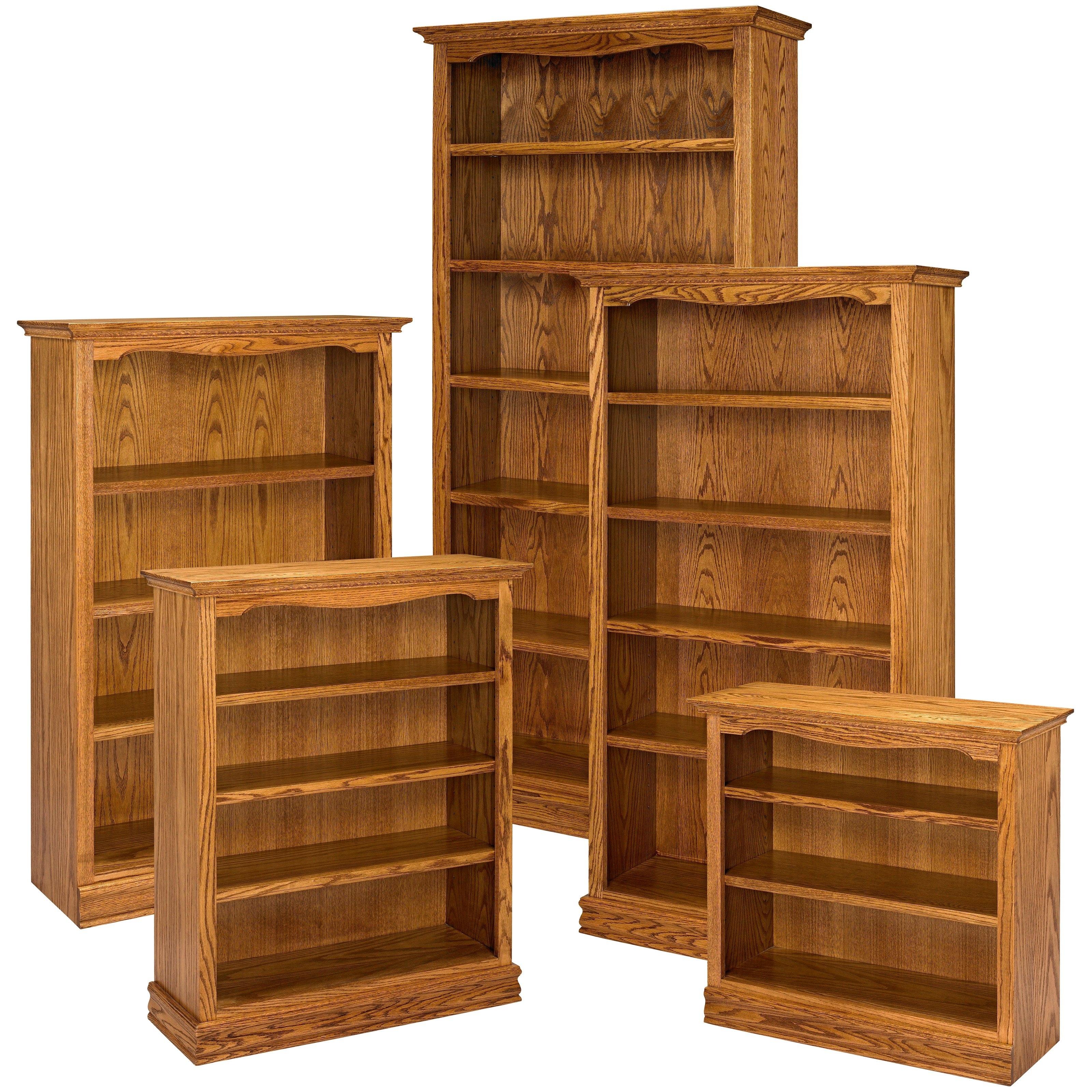 A & E Solid Oak Americana Wood Bookcase (View 6 of 15)