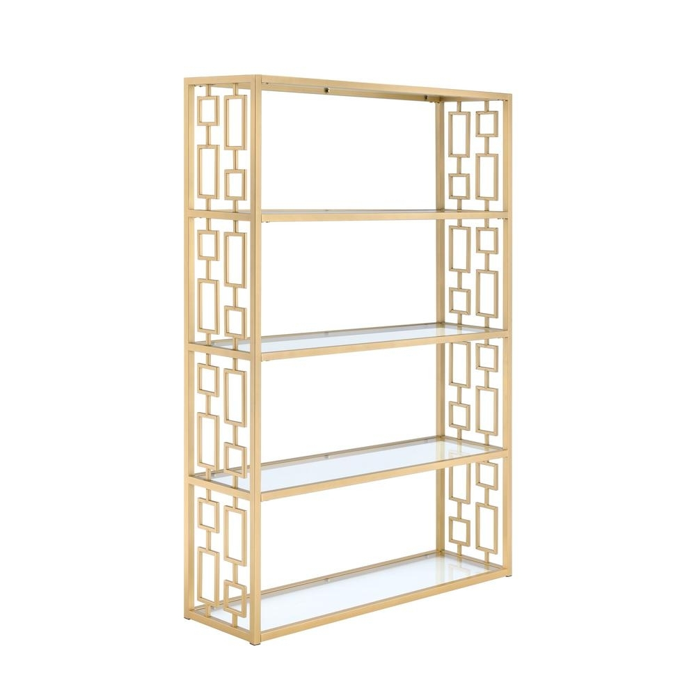 Acme Furniture Blanrio Etagere Clear Glass And Gold Bookcase 92465 In 2018 Etagere Bookcases (View 1 of 15)