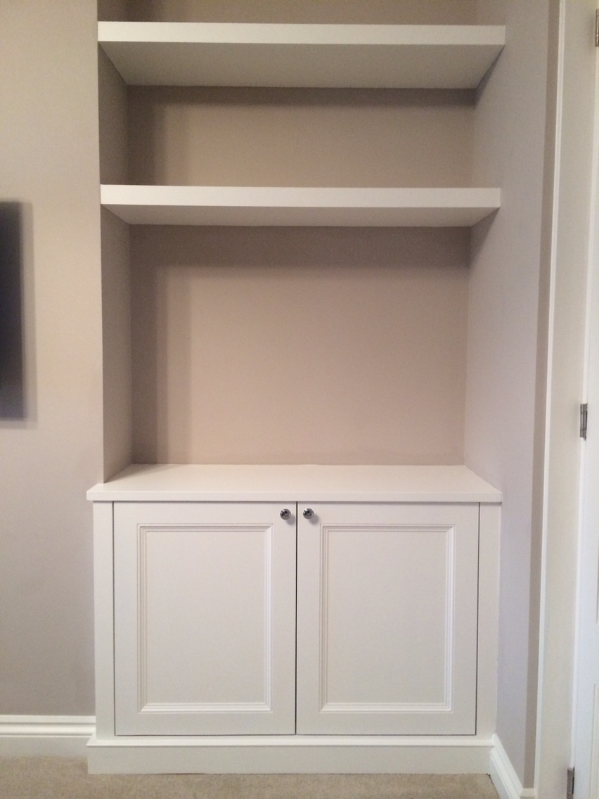 Alcove Cupboard With Floating Shelves – For Our Nook? Cupboard Up With Regard To Newest Cupboard Bookcases (View 15 of 15)