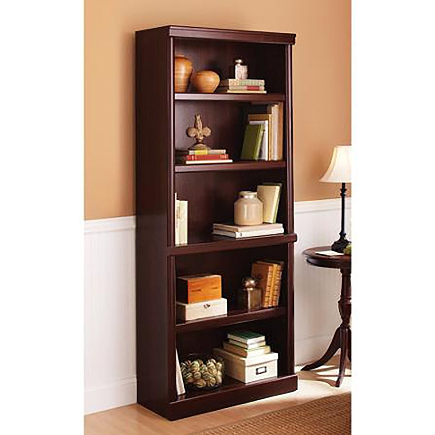 Amazon: 5 Shelf Cherry Bookcase Wooden Book Case Storage In Latest Wooden Bookshelves (View 2 of 15)