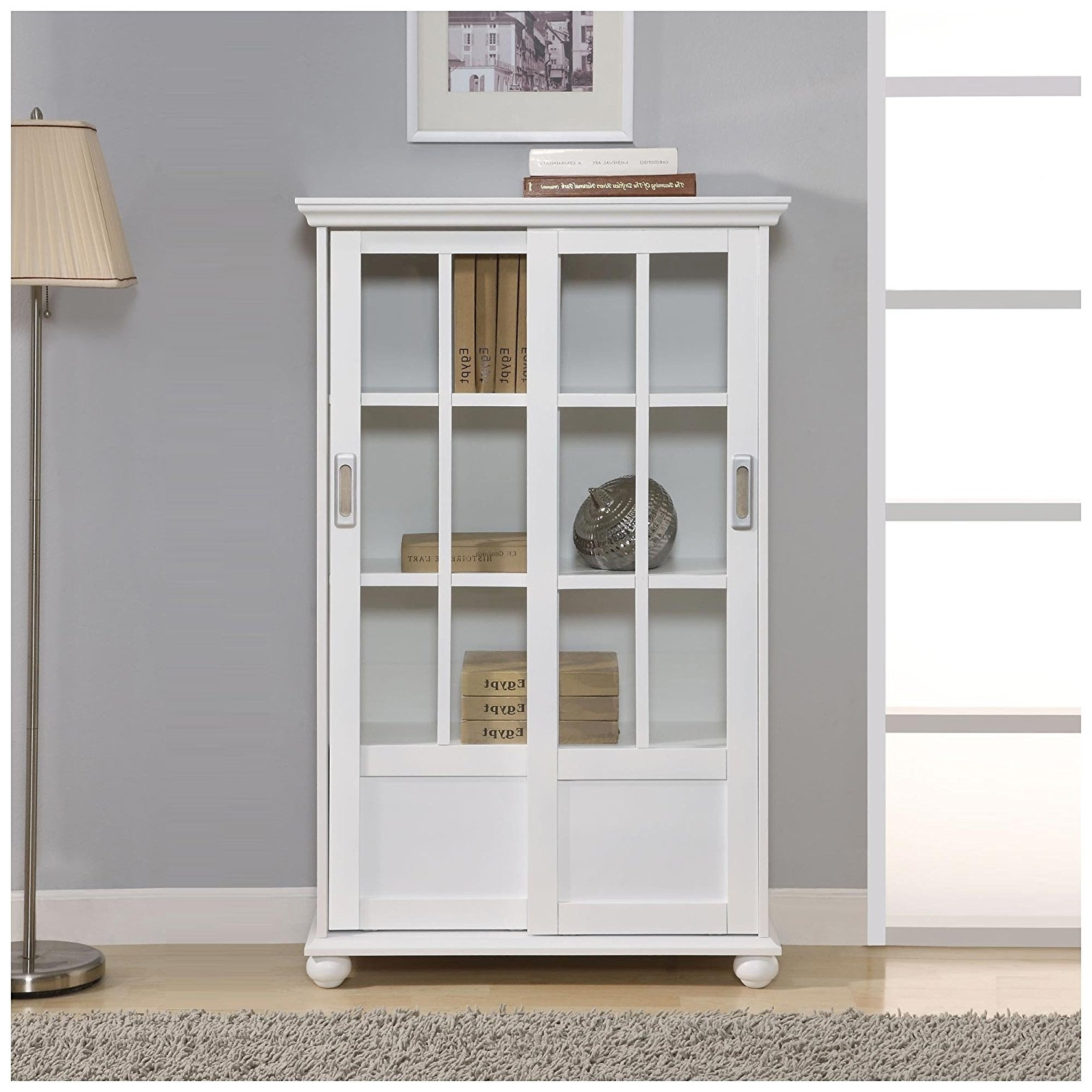 Amazon: Altra 9448096 Bookcase With Sliding Glass Doors, White Within Newest Bookcases With Sliding Glass Doors (View 4 of 15)