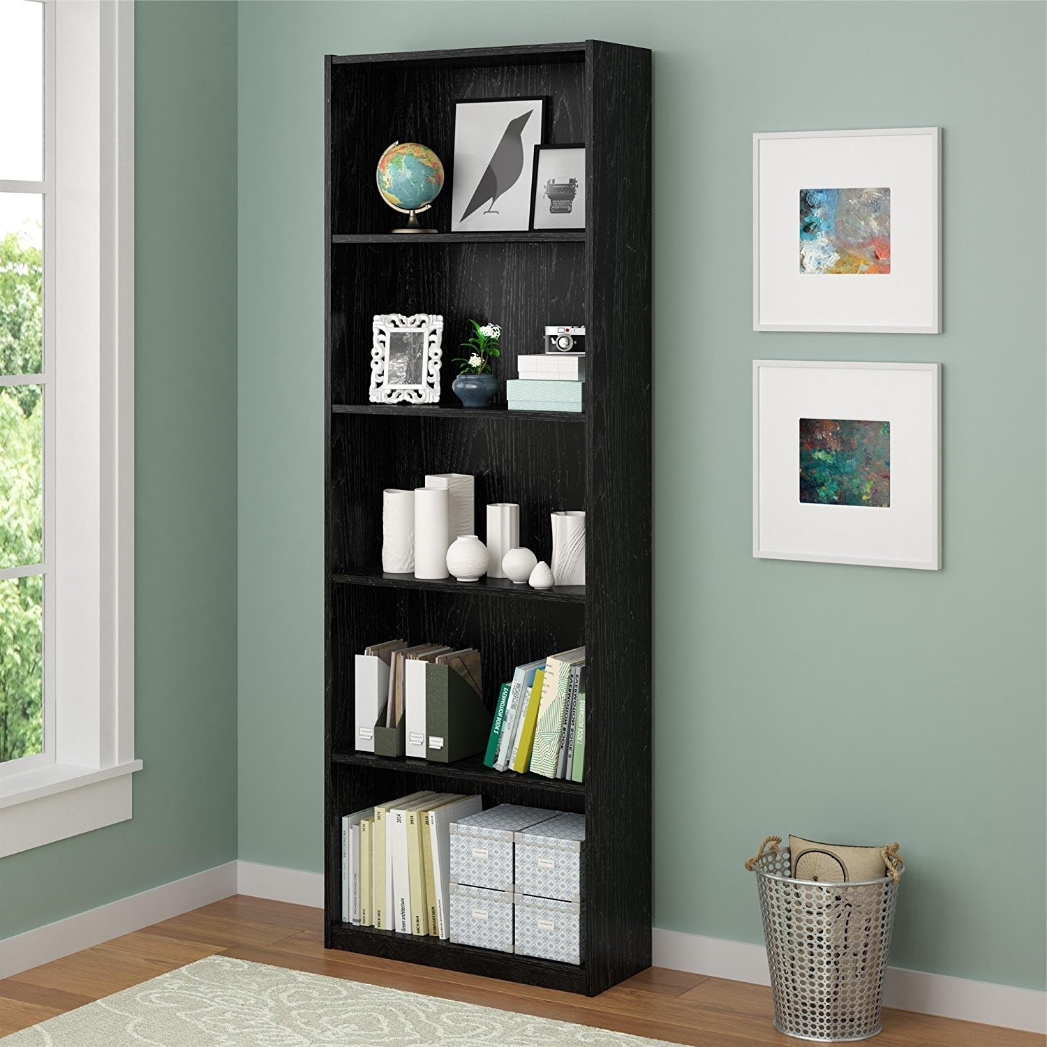 Amazon: Ameriwood 5 Shelf Adjustable Bookcase, Set Of 2, Black Intended For Recent Ameriwood 5 Shelf Bookcases (View 3 of 15)