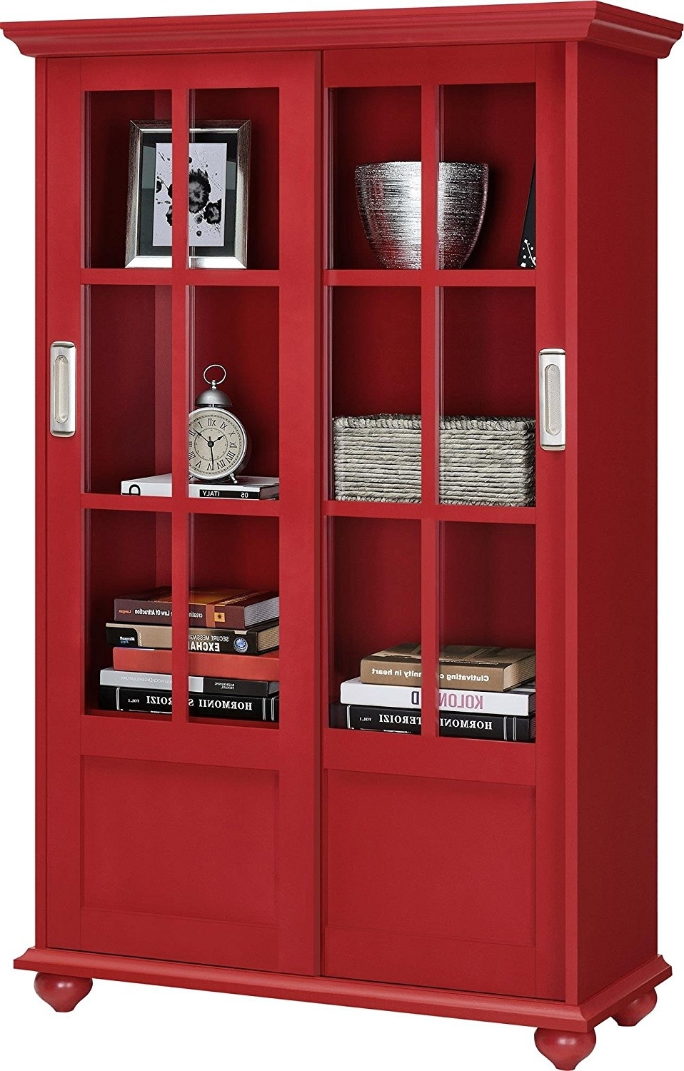 Amazon: Ameriwood Home Aaron Lane Bookcase With Sliding Glass With Regard To Best And Newest Red Bookcases (View 9 of 15)