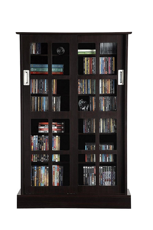 Amazon: Atlantic 94835721 Glass Door Cab Espresso: Kitchen In Popular Black Bookcases With Glass Doors (View 12 of 15)
